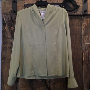 Green button down shirt